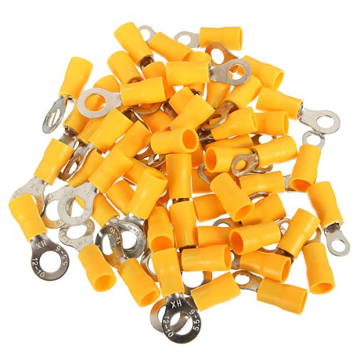 100Pcs Yellow Ring Insulated Wire Connector Electrical Crimp Terminal 12-10 Awg