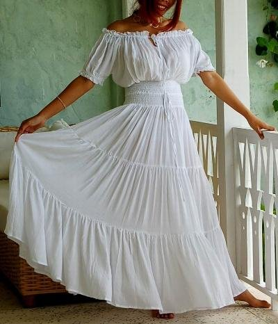 Mexican Style Wedding Dress 3 Luxury WHITE DRESS PEASANT ETHNIC