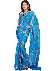 Exotic India Caribbean-Sea Bandhani Sari With Embroidered Flowe - Multi-Coloured
