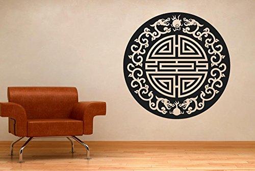 asiatische motiv mit blumen dragons wall wandtattoos. Black Bedroom Furniture Sets. Home Design Ideas