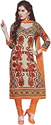 Majaajan Women's Cotton Self Print Unstitched Salwar Suit Ethnic Dress Material (PRT1902, Orange and Beige, Freesize)