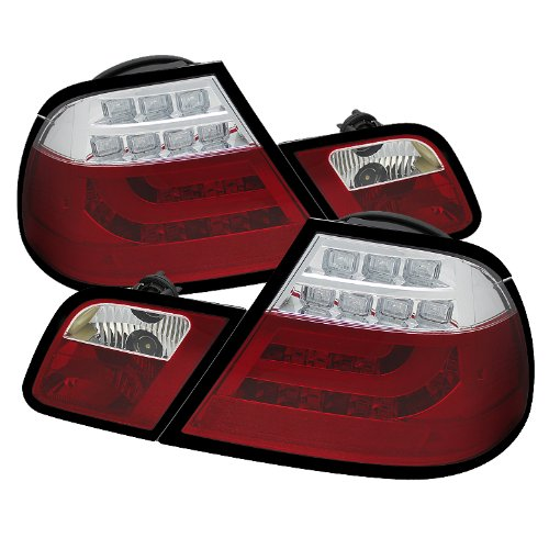 Spyder Auto (Alt-Yd-Be4600-Lbled-Rc) Bmw E46 2-Door Coupe Red/Clear Light Bar Style Led Tail Light