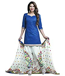 Govardhan Fashion Blue and white colour cottan Unstitched Dress Material