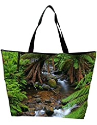 Snoogg Water Flowing Through The Jungle Designer Waterproof Bag Made Of High Strength Nylon