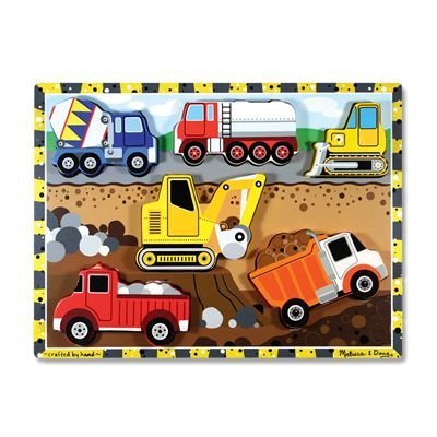 Melissa & Doug Construction Vehicles Wooden Chunky Puzzle (6 pcs)