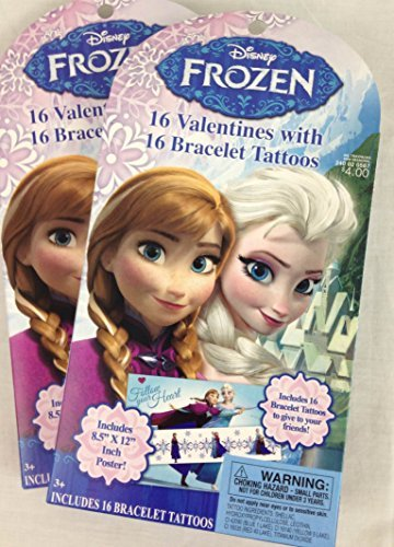 16 Disney Frozen Valentines with 16 Bracelet Tattoos (2 Boxes) - 1
