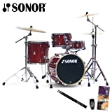 Sonor Safari Red Sparkle Drum Kit with Evans Drumset Survival Guide, LP Rumba Shaker and Vic Firth/GoDpsMusic Drumsticks