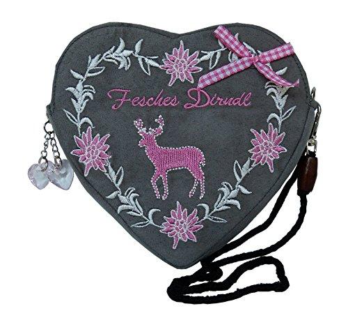 Damen-Dirndl-Handtasche-Herz-Umhngetasche-Herztasche-Fesches-Dirndl-Hirsch-pink-rosa-grau