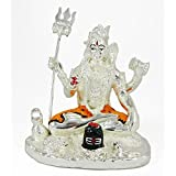 IndiaBuye Silver Plated Terracotta Lord Shiva (Size: 11 CM X 11 CM X 9 CM)