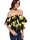 Floerns Women's Casual Print Off Shoulder Flare Sleeve Top Loose Blouse Black M
