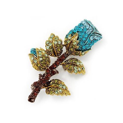 Teal Blue Swarovski Crystal Rose Brooch (Gold Plated Metal) Jewelry