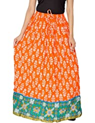 Jaipur Skirt Women's Cotton Regular Fit Skirt (Orange)