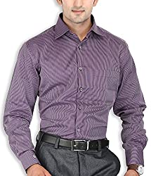 SPEAK Mens Purple Stripes Premium Cotton Formal Shirt