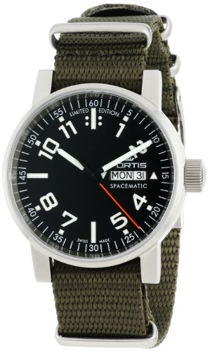 Fortis Men's 623.10.41 N.11 Spacematic Swiss Automatic Black Luminous Dial Green Canvas Strap Watch