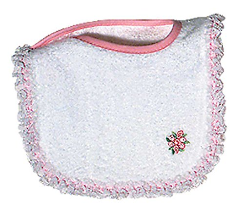 Raindrops Girl Appliqued Lace Bib, White/Pink