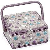boutons motif boîte à couture Violet et Aqua sur fond gris