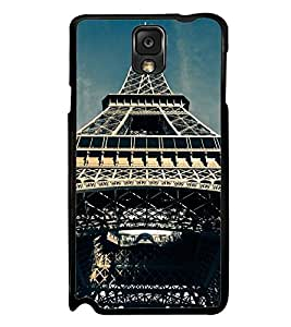 Fuson Premium 2D Back Case Cover Eiffel tower With green Background Degined For Samsung Galaxy Note 3 Neo N7505