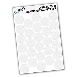 SafeBAD SB28P Anti-Rutsch-Sticker 28 Stück Klebepunkte 4,8 cm Durchmesser für Sicherheit in Badewanne und Dusche