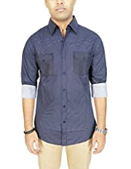AA' Southbay Men's Dark Navy 100% Cotton Geometry Printed Long Sleeve Casual Shirt With 2 Flap Pockets