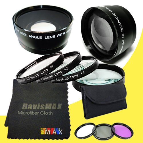 49Mm Macro Close Up Kit + Wide Angle + 2X Telephoto Lenses + 3 Piece Filter Kit For Sony Alpha Nex-6 With Sony 18-55Mm F/3.5-5.8 Sel Zoom Lens + Davismax Fibercloth Lens Bundle
