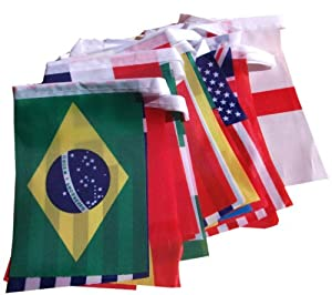 2014 Brazil World Cup Fabric Bunting- All 32 Flags 6 Metres Small Flags