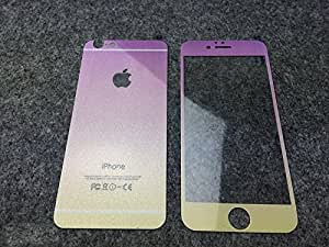 iPhone 6 Gradient Rainbow Bling Glitter Screen Protection Film 4.7 inch, TaoFilm Premium Tempered Glass Screen Protector for iPhone 6 4.7 (Wooden Box Packaging)(Front and Back)(Purple)