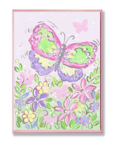 The Kids Room by Stupell Large Pastel Butterfly and Flowers Rectangle Wall Plaque