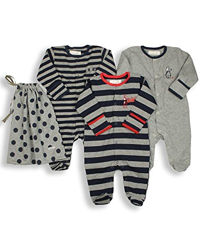 The Essential One Baby Pack Of 3 Footie Sleeper / Coveralls 6 - 9 Months Navy Red