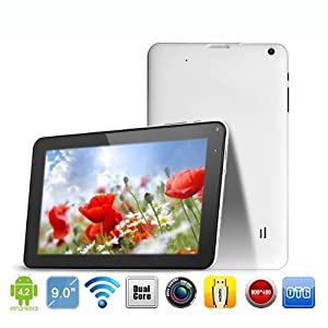 Android 4.2 4GB A20 Dual-Core Tablet PC Capacitive Multi-Touchscreen with Dual Cameras, HDMI, Contains USB cable, OTG Cable, and Charger by Afunta