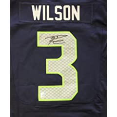 Buy Russell Wilson Autographed Seattle Seahawks Nike Elite Authentic Blue Jersey Size 48 RW Holo