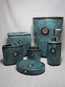 Western turquoise rhinestone concho bathroom for Bathroom accessories with rhinestones