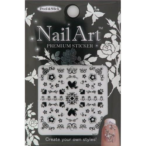 Nail Art Sticker Floral Design NSA 06 Black
