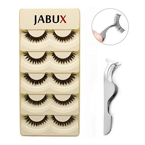 JABUX 5 Pairs Black Long Thick Handmade Messy False Eyelashes Voluminous Reusable Fake Eye Lash Extension For Makeup(Free Eyelash Applicator Tool Fish Tail Clip) (T10)