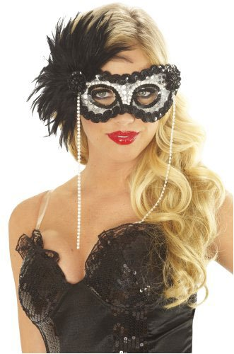 Onyx Pearl Feather Mask Halloween Costume Accessory