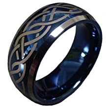 buy Men Women Blue Tungsten Carbide Ring Wedding Engagement Band Domed Two Tone Laser Celtic Knot Comfort Fit