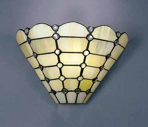 Dale Tiffany 7411/1LTW Beige Geometric Wall Sconce Light, Art Glass Shade