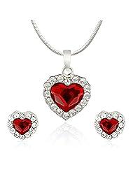 Mahi Rhodium Plated Red Titanic Heart Pendant Set Made With Swarovski Elements For Women NL1104119RRed