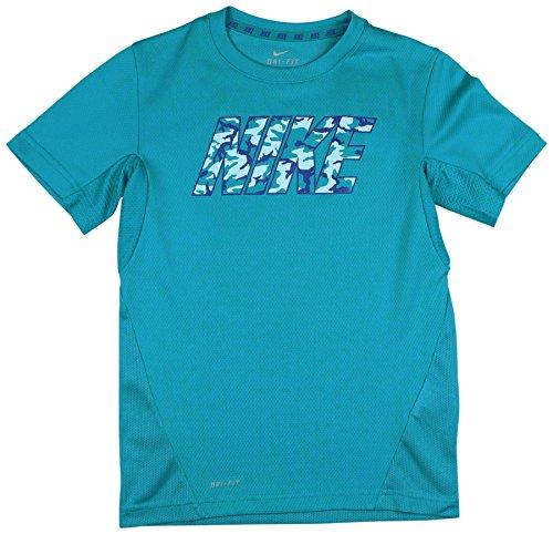 Nike Big Boys' (8-20) Dri-Fit Woodland Camo Vapor Training Shirt-Cerulean-Large