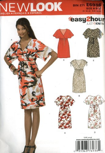 New Look Easy 2 Hour Sewing Pattern Size A 8-18 - 6 Pieces - Knee Length Dress