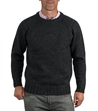 Wool Overs Pull homme en laine à col rond Anthracite XS