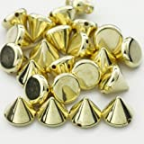AutoM OEM Golden Color 100PCS 9MM Bullet Cone Spike Acrylic Rivet Punk Bracelet Spacer Leathercraft DIY