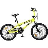 Tauki 20 Inch BMX Freestyle Boy Bike, Kid's Bike, Girl's Bike, Kid's Gift, Black/Green/Orange, for 8-14 Years Old