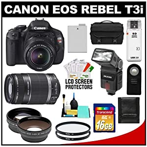 Canon EOS Rebel T3i Digital SLR Camera Body & EF-S 18-55mm IS II Lens with 55-250mm IS Lens + 16GB Card + .45x Wide Angle & 2x Telephoto Lenses + Flash + Case + Battery + Remote + (2) Filters + Accessory Kit