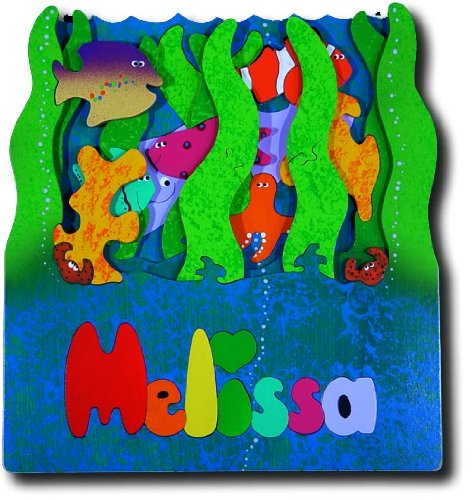 Picture of KidPuzzles Wooden Name Puzzle with Childs Name 3 Layers Undersea Ocean (B00564HN64) (3D Puzzles)