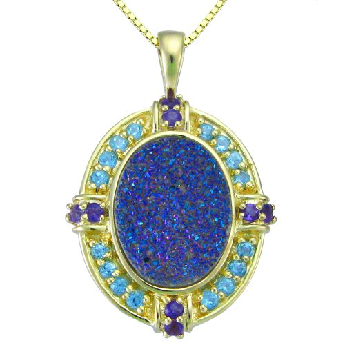 18k Gold Over Sterling Silver Purple Drusy and Multi-Stone Pendant Necklace , 18