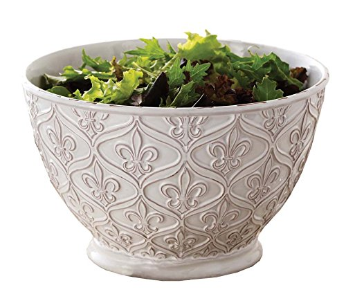 Mud Pie 150061 Fleur-De-Lis Serving Bowl, All Things French (Large White Pasta Serving Bowl compare prices)