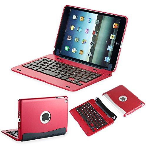 efluky iPad mini Bluetoothキーボードipad mini 1/2/3に対応 可移動的保護 SmartCover (赤い)