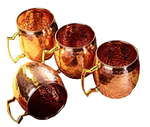 Zap Impex ® Pure Copper Hammered Moscow Mule Mug With Solid Brass Handle Set Of 4- 16 Ounce (Correlle Coffee Cups compare prices)