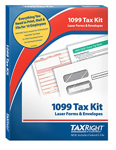 TaxRight Tax Forms by Complyright with Free Federal E-File: 1099 Misc. 4-Part for 10 Recipients with Self-Seal Envelopes (1099 Forms And Software compare prices)