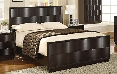 Modus Furniture Maui Wave California King Size Panel Bed, Chocolate Brown